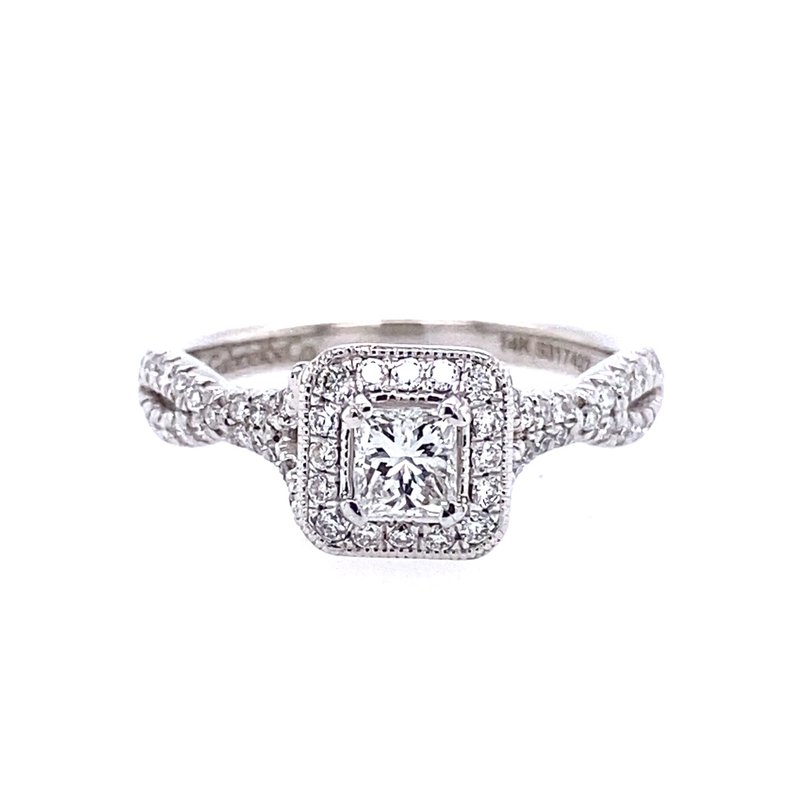 Gabriel & Co. -  IN-STORE COLLECTION Vintage Inspired 14K White Gold Princess Halo Complete Diamond Engagement Ring