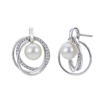 Triple Circle Freshwater Pearl Earrings