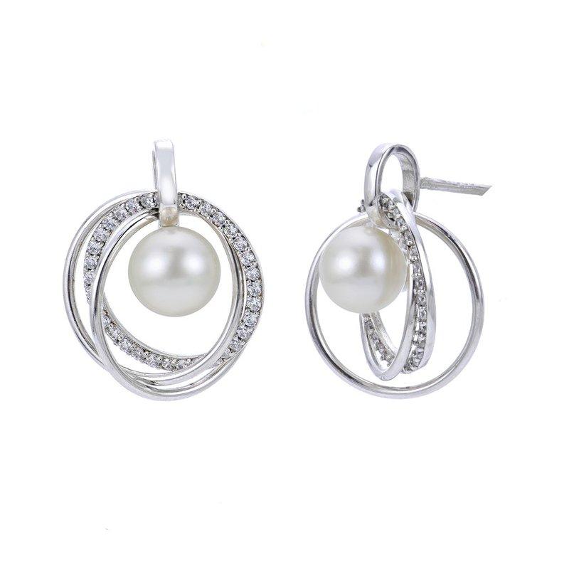 Imperial Pearl Triple Circle Freshwater Pearl Earrings