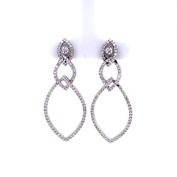 Marquis Shaped Diamond Dangle Earrings