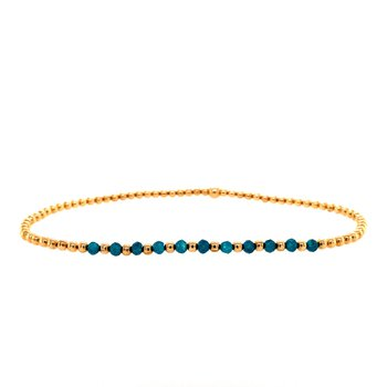 2mm Yellow Gold Filled and Apatite Bead Bracelet