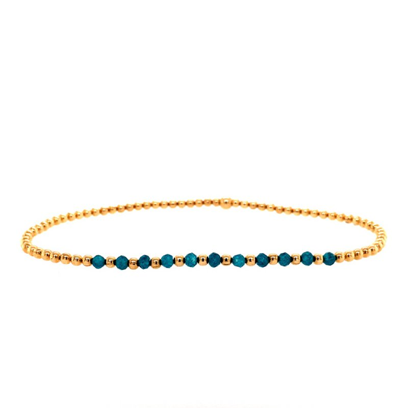 Karen Lazar 2mm Yellow Gold Filled and Apatite Bead Bracelet