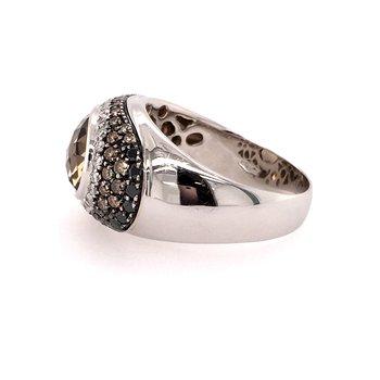 Smoky Quartz & Diamond Ring