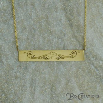 Hand-Engraved Bar Necklace