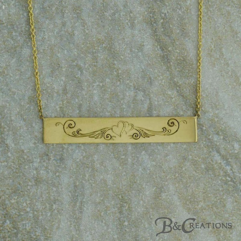 Uniquely Yours . . .  Hand-Engraved Bar Necklace