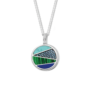 Mixed Blues Pendant and Chain