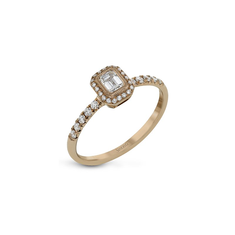Simon G IN-STORE COLLECTION Rose Gold Emerald Cut Diamond Engagement Ring