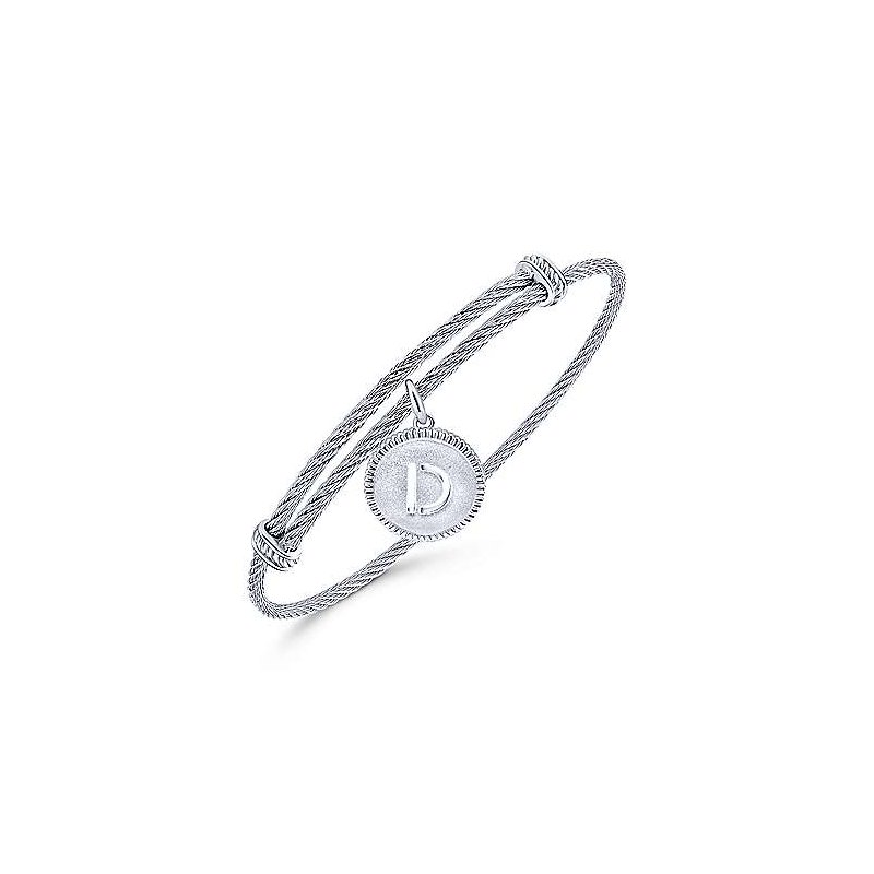 """Gabriel & Co. -  IN-STORE COLLECTION SS Initial """"D"""" Bangle"""