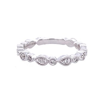 Pear and Round Station Diamond Band