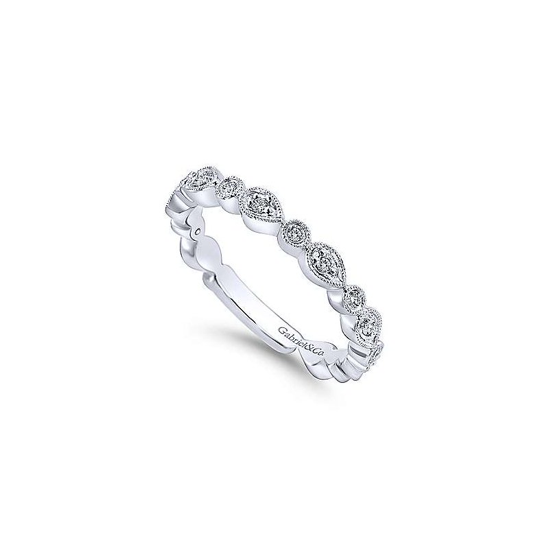 Gabriel & Co. -  IN-STORE COLLECTION Pear and Round Station Diamond Band