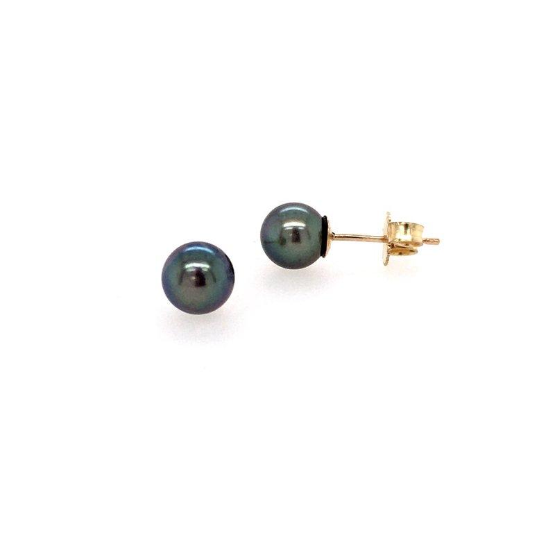 B&C Creations Dyed Black Pearl Stud Earrings