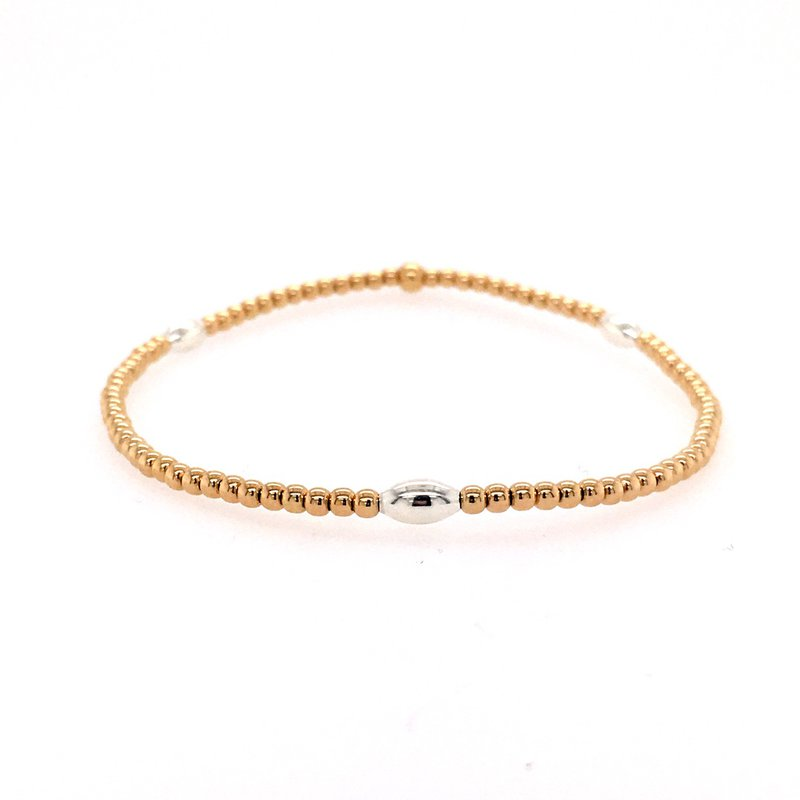 Karen Lazar Stretch 2mm Yellow Gold Filled and Sterling Silver Orzo Bead Bracelet