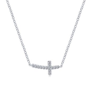 Diamond Curved Sideways Cross Necklace