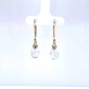 Moonstone and Diamond Drop Earrings