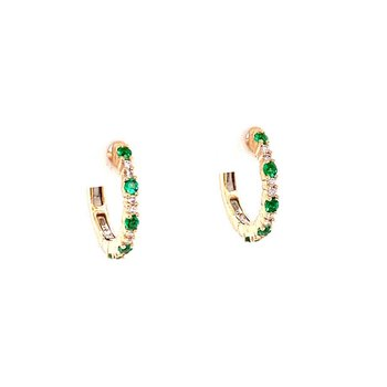 Emerald and Diamond Hoops