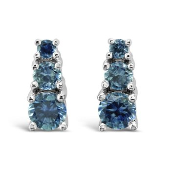 14K White .96CTW Montana Sapphire Earrings