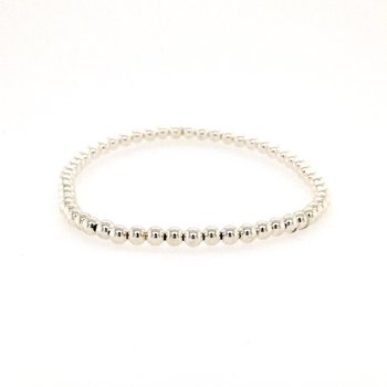 Stretch 3mm Steling Silver Bead Bracelet