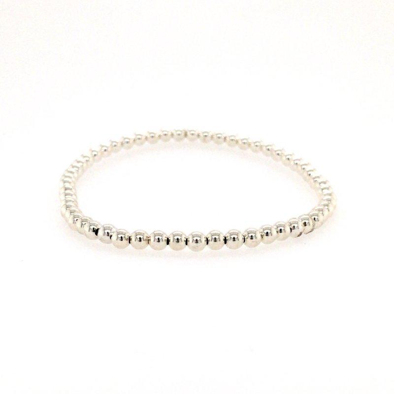 Karen Lazar Stretch 3mm Steling Silver Bead Bracelet