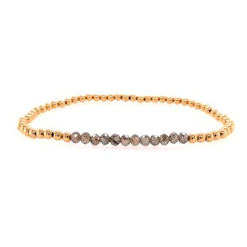 Stretch 3mm Yellow Gold Filled and Labradorite Bead Bracelet
