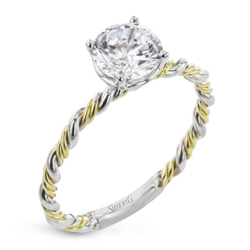 Simon G IN-STORE COLLECTION White and Yellow Gold Diamond Twist Style Engagement Ring