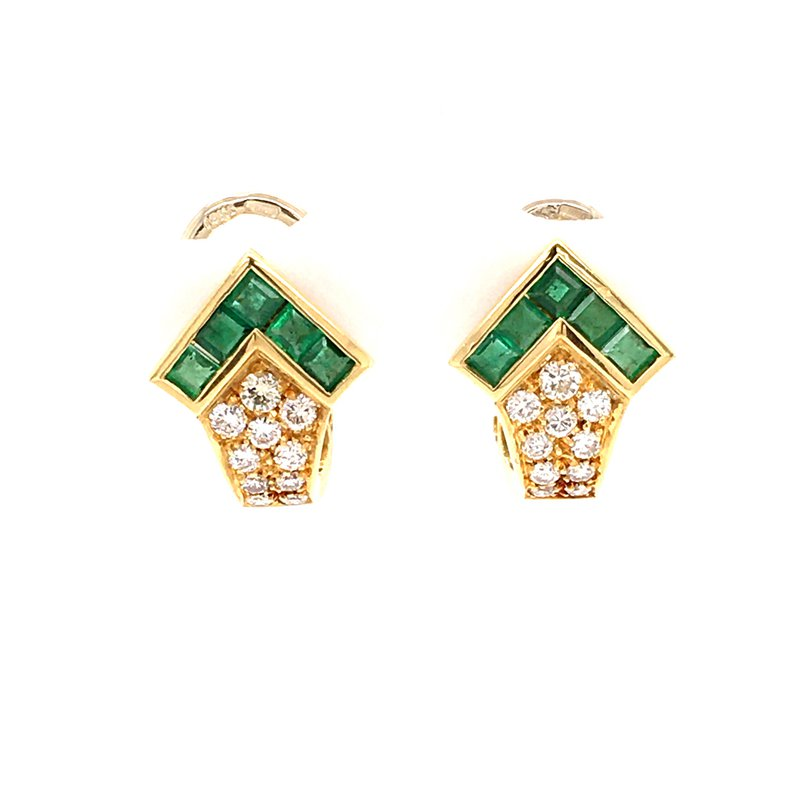B&C Estate Collection Emerald and Diamond earrings