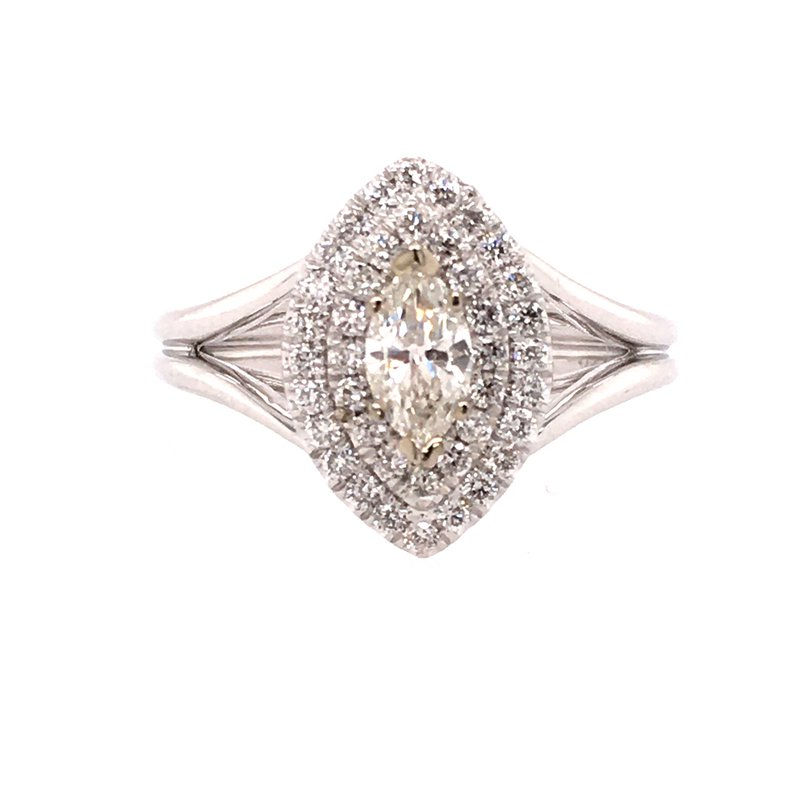 Gabriel & Co. -  IN-STORE COLLECTION 14K White Marquis Double Halo Engagement Ring