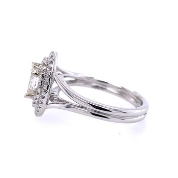 14K White Marquis Double Halo Engagement Ring