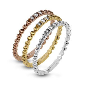 Zeghani 14K Yellow Gold Beaded Ring with Diamond Accents