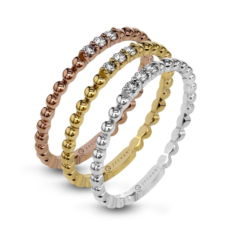Zeghani Zeghani 14K Yellow Gold Beaded Ring with Diamond Accents