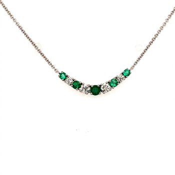 Emerald and Diamond Bar Necklace