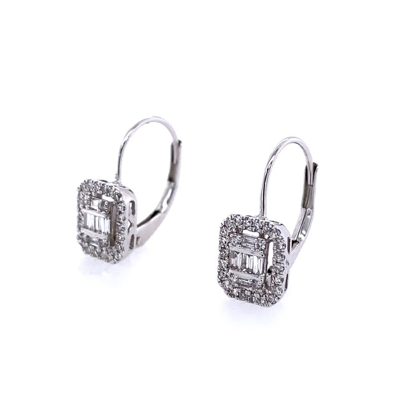 B&C Collections Baguette and Halo Drop Earrings