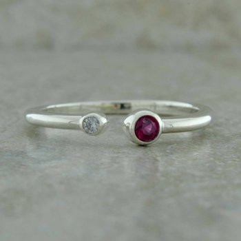Bezel Set Open Birthstone Ring