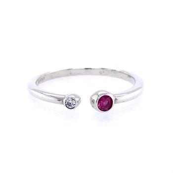 Bezel Set Open Birthstone Ring