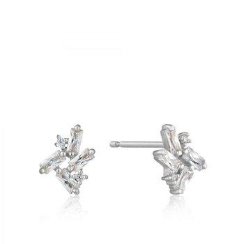 CZ Cluster Baguette Stud Earrings