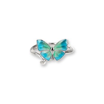 Blue Enamel Butterfly Ring