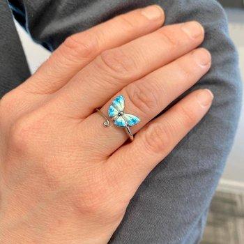 Blue Enamel Butterfly Ring