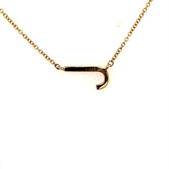 """Sideways Initial """"J"""" Necklace"""