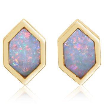Australian Opal Hexagon Studs