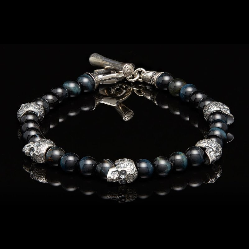 William Henry Patrol Skull and Tiger's Eye Bracelet