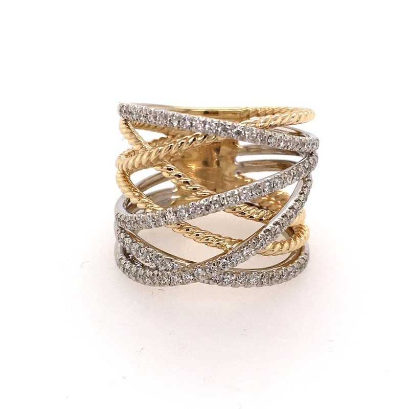 B&C Estate Collection Diamond Cross-Over Wide Band