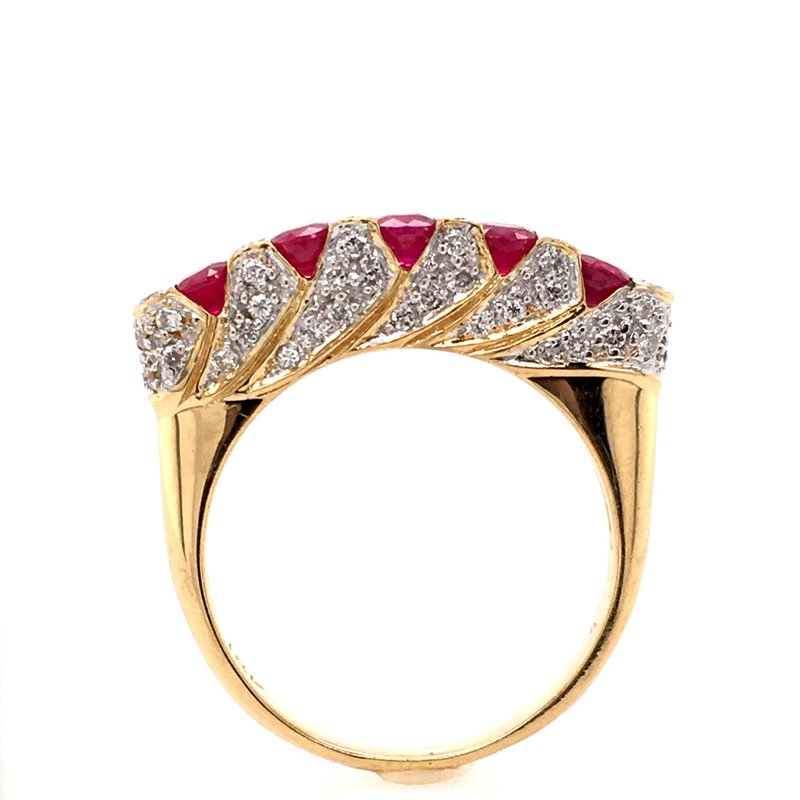 B&C Estate Collection Ruby and Diamond Band