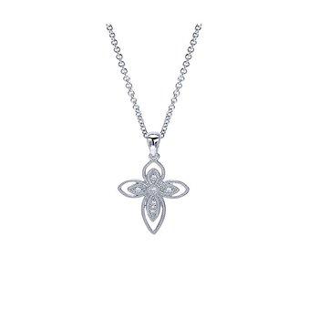 Openwork Diamond Cross Necklace