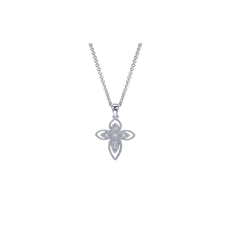 Gabriel & Co. -  IN-STORE COLLECTION Openwork Diamond Cross Necklace