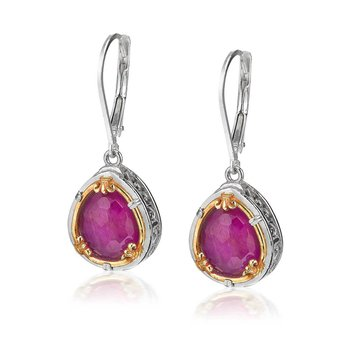 Petite Teardrop Ruby Doublet Earrings