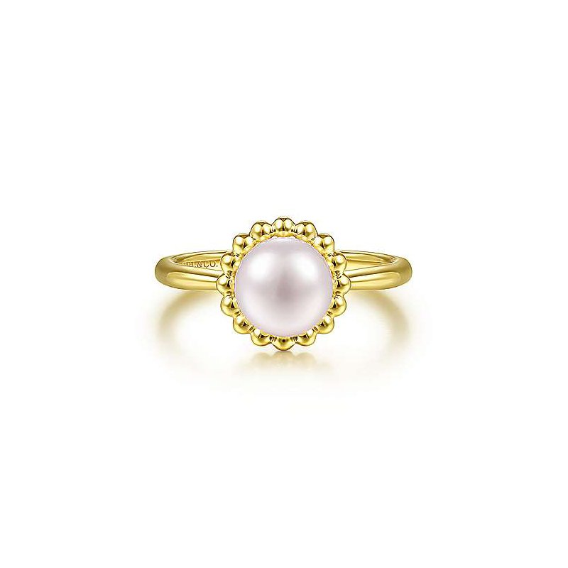 Gabriel & Co. -  IN-STORE COLLECTION Beaded Halo Fresh Water Pearl Ring