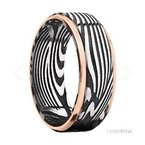 Lashbrook Designs Damascus Steel and Rose Gold Edge Band