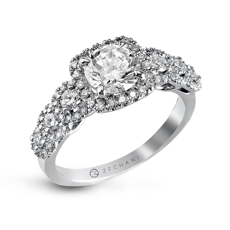 Zeghani Engagement Ring with Graduating Side Diamonds