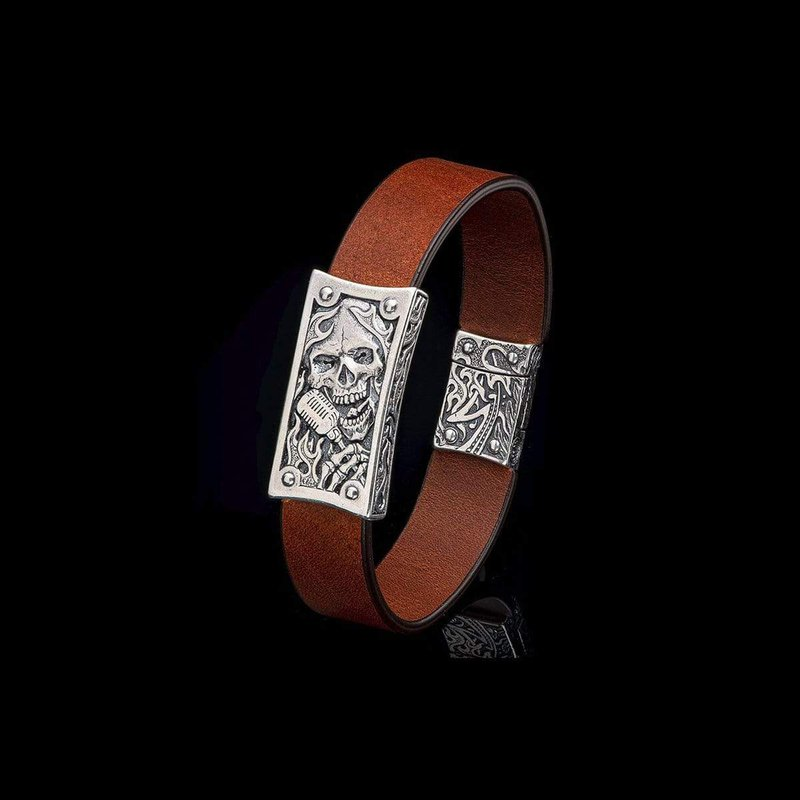 William Henry LaGrange Bronze and Leather Bracelet
