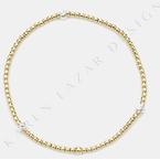 Karen Lazar Stretch 2mm Yellow Gold Filled and S/S Rondelle Pattern Bracelet, Size 6.75