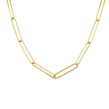 Gold Paperclip Style Necklace
